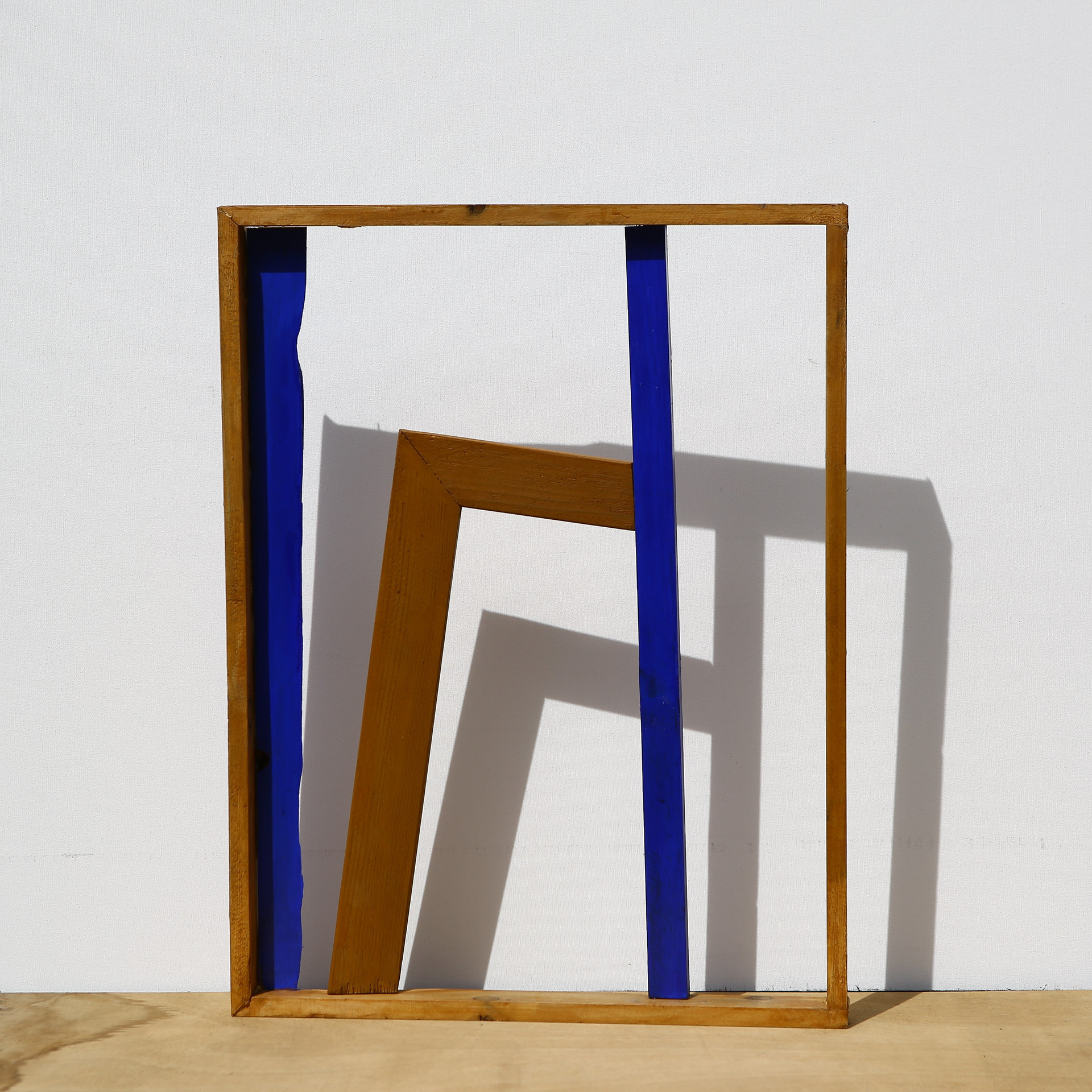 'Internal Design Series' Found Frame, Painted Wooden Pieces and a cut corner of Chassis