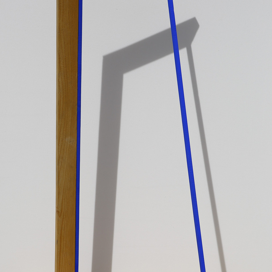 'Internal Design' Cut Chassis Standing with blue painted wooden sticks,