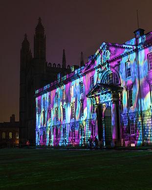 Cambridge University at night. Photograp