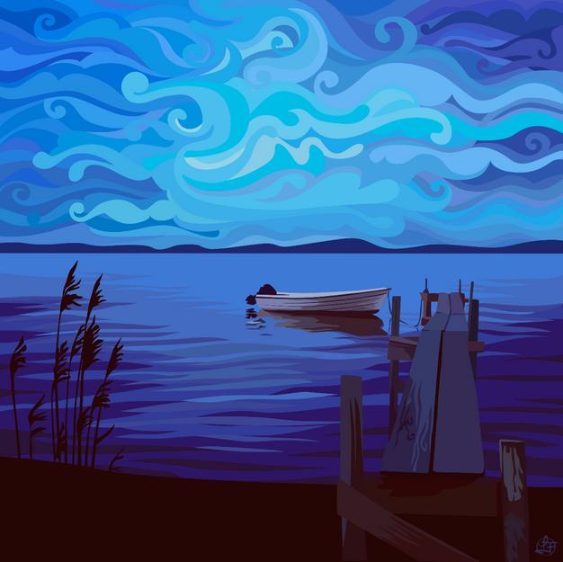 Båt i skymning