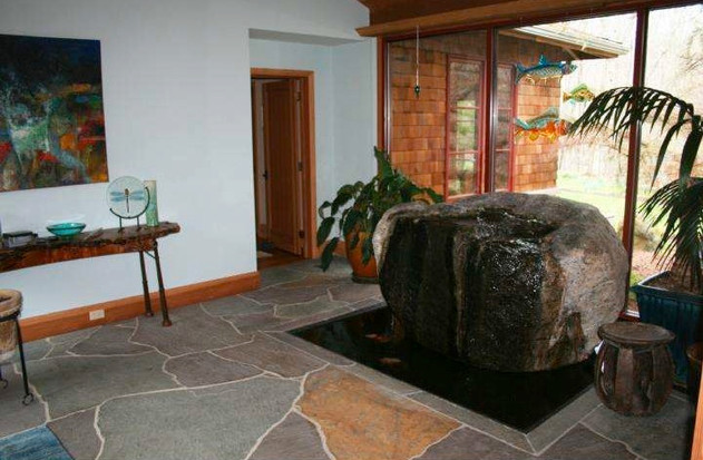 Foyer with rock fountain