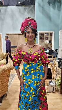 Alretha Thomas as Anastasia Devereaux in her African Garb
