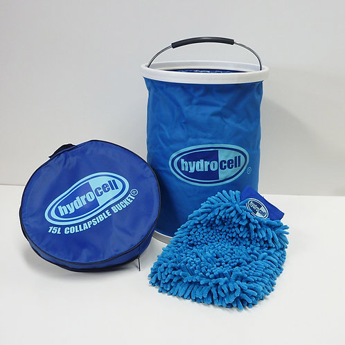 What's inside the kit; 15L Bucket, Microfibre Mitt, Carry Case