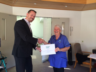 Matthew Jackson presents a Unit Standard L3 Certificate to Frances Rodden from CHT Peacehaven Hospit