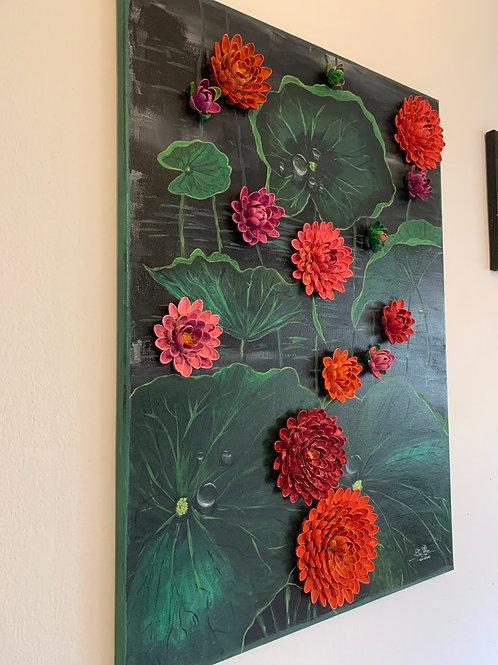 Acryl Lotus mit echte Pistazien Schale