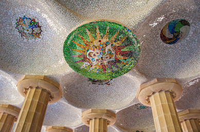 Detail of a Ceiling in Parque Guell by Antonio Gaudi in Barcelona, Catalonia, Spain
