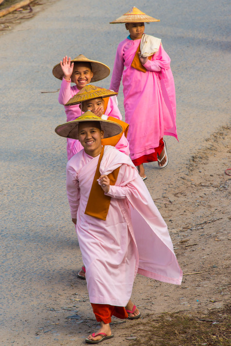 Young Nuns Out on a Morning Stroll - Hsipaw