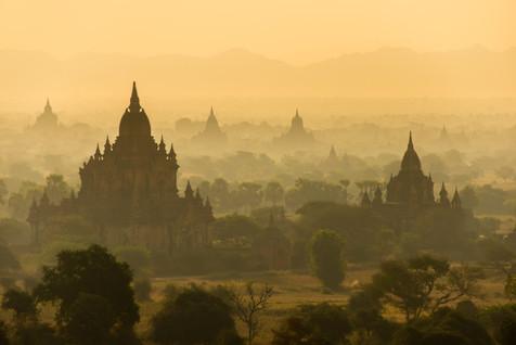 The Smoky Plain of Bagan Before Sunrise