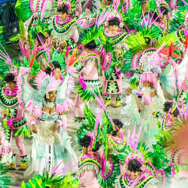 Detail of a Samba School Parading in the Sambadrome - Rio de Janeriro, Brazil
