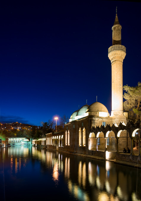 Night Exterior of the Sacred Carp Ponds of the Rizvaniye Mosque and  Medressa - Sanliurfa, Turkey