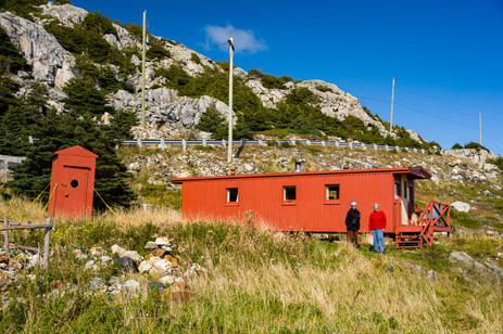 Yolanda with Writer Helen Forsey and Her Caboose - Cape St. Francis, Newfoundland