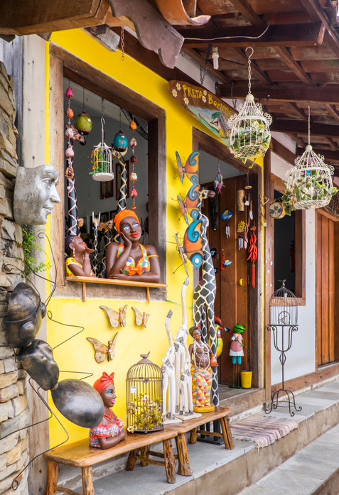 Colorful Shops Line the Colonial Cobbled Streets of Pirenopolis - Goias, Brazil