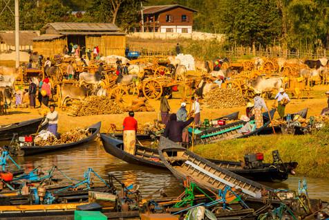 The Traveling Market Along Inle Lake at Dawn