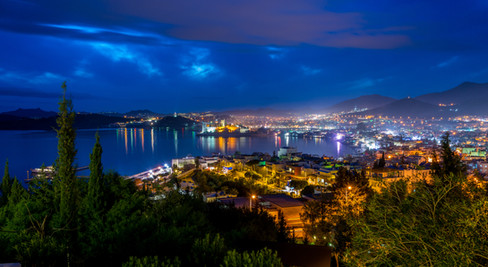 Night Time Panorama of the City of Bodrum - Bodrum, Turkey