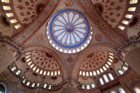 The Interior of the Sultanahmet or Blue Mosque - Istanbul, Turkey