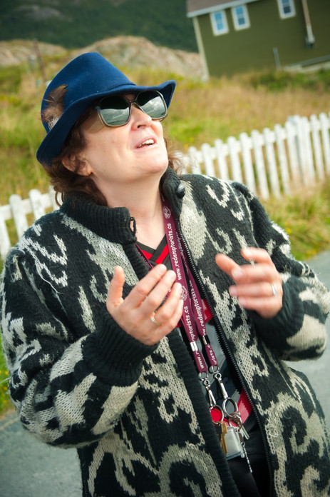 The Poet and Writer, Betty Jarvis Vaters, Creating a Poem for Us on the Spot - Portugal Cove, Newfoundland