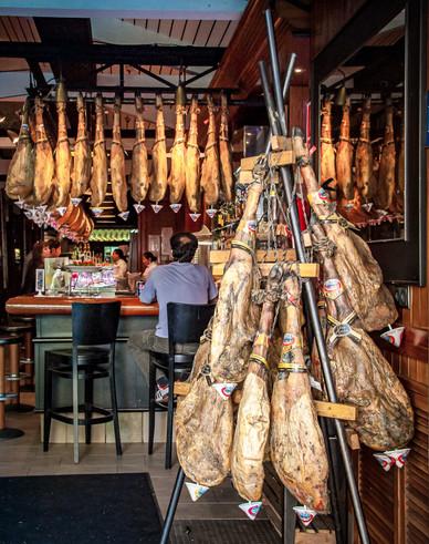 Spanish Ham in a Restaurant Barcelona, Catalonia, Spain