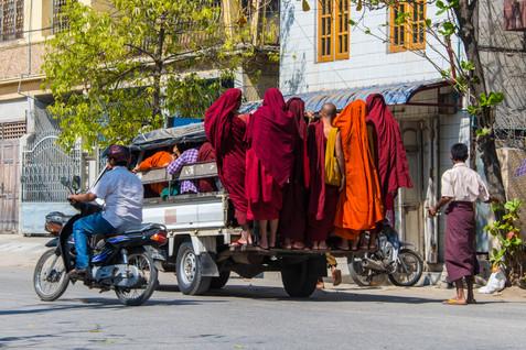 Monks Hitching a Ride- Mandalay