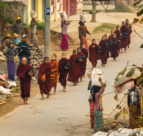 Alms Rounds - Hsipaw, Myanmar