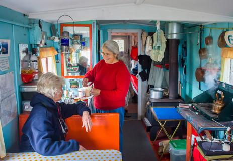 Having Tea with Helen Inside Her Caboose - Cape St. Francis, Newfoundland