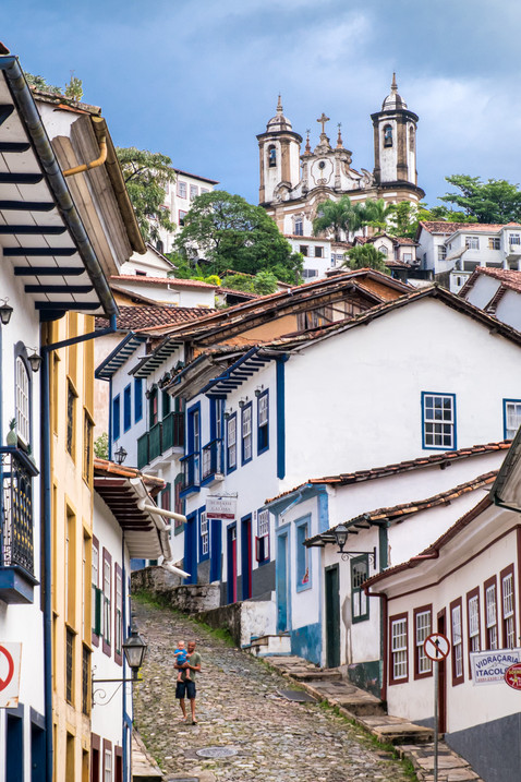 Cobbled Streets of the Hill-covered Colonial City of Ouro Preto - Minas Gerais, Brazil