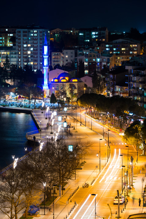 Along the Waterfront of Canakkale at Night - Canakkale, Turkey