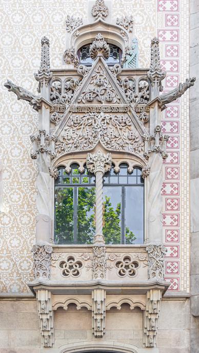 Old Ornate Window in Barcelona, Spain