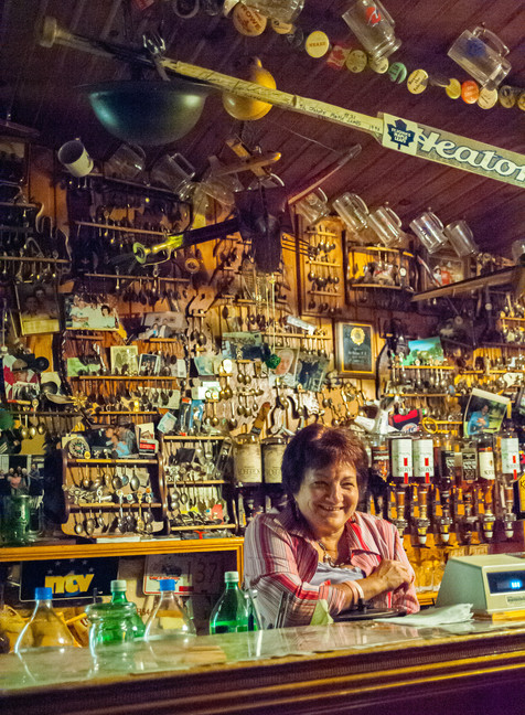Linda, Ready to Pour a Cold One at the Inn of Olde - Quidi Vidi, Newfoundland