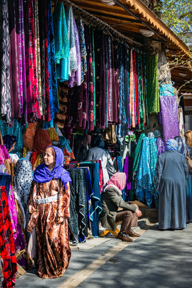 Shopping for Colorful Fabrics - Sanliurfa, Turkey