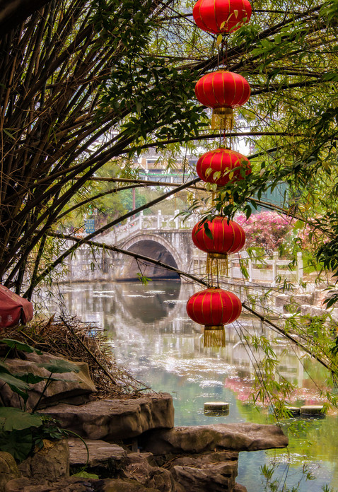 Chinese Lanterns, Pond and Bridge - Yongshou, China