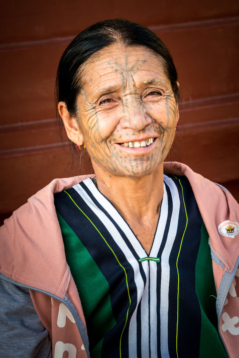 Chin Woman with Traditional Facial Tattoes
