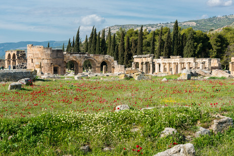 Ruins of the Roman spa town of Hieropolis in Spring - Pamukkale, Turkey
