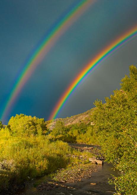 Double Rainbow Over Plateau Creek - Molina, Colorado