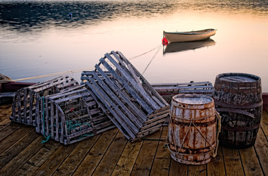 Casks, Lobster Traps and Dingy at Sunset - Trinity, Newfoundland
