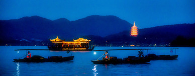 Night Descends Upon Hangzhou's Beautiful West Lake - Hangzhou, Zhejiang, China