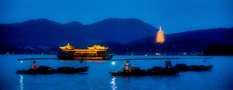 Night Descends Upon Hangzhou's Beautiful West Lake - Hangzhou, Zhejiang, China