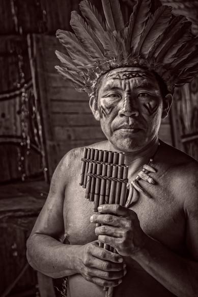 A Musician of the Amazonian Dessana Tribe - Near Manaus, Brazil
