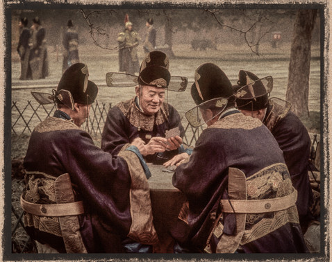 Qing Dynasty Card Players Ming Tombs, China