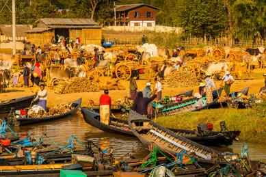 Weekly Market at Dawn - Inle Lake, Myanmar