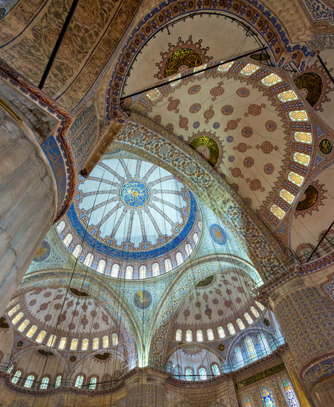 Inside the Blue Mosque - Sultanahmet Mosque, Istanbul, Turkey