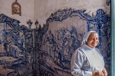 A Nun and 17th Century Porcelain Mural - Olinda, Pernambuco, Brazil