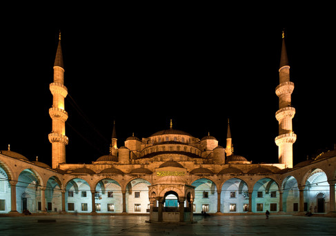 The Courtyard of the Sultanahmet or Blue Mosque at Night - Istanbul, Turkey