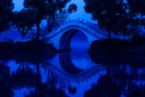 Bridge at Dawn - West Lake, Guilin, China