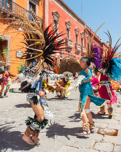 Concheros Dancing During the Festival of The Lord of the Conquest - San Miguel de Allende, Mexico