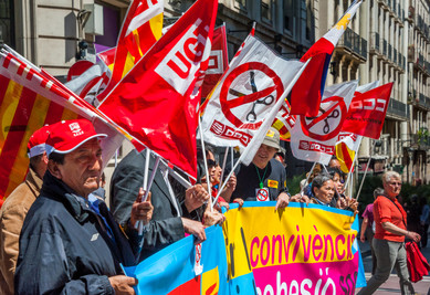 Workers Demonstrating on May 1st Barcelona, Catalonia, Spain