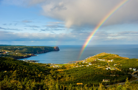 Rainbow Forming from a Passing Squall - Flatrock, Newfoundland