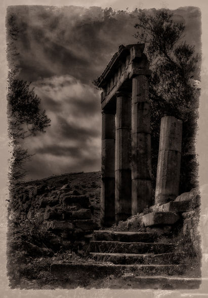Ancient temple ruins, a black and white sepia-toned photograph of ruined temple columns and stairs - fine art photography - Bergama, Pergamon, Turkey.jpg