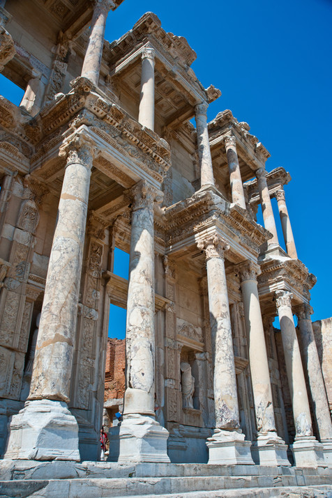 The facade of the ancient Roman Library at Ephesus, Turkey