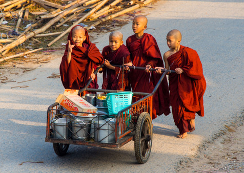 Young Monks on Their Alms Rounds - Hsipaw