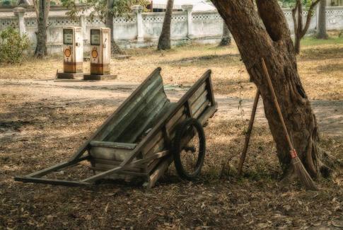 Hand Cart and Gas Pumps - Luang Prabang, Laos